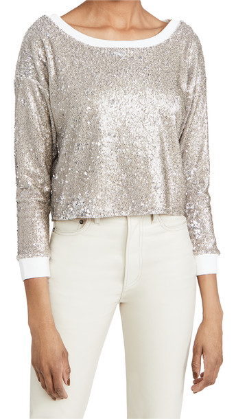 Chaser Sequin Terry Cropped Pullover in silver
