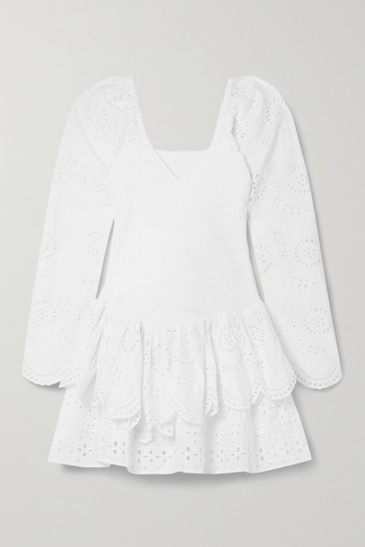 LOVESHACKFANCY - Cedria Shirred Broderie Anglaise Cotton-voile Mini Dress - White