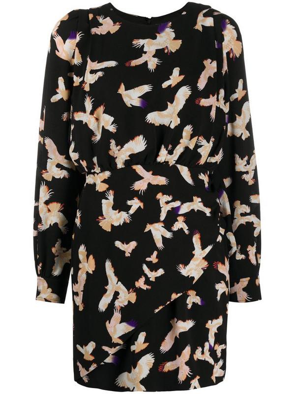Lala Berlin gathered bird print dress in black