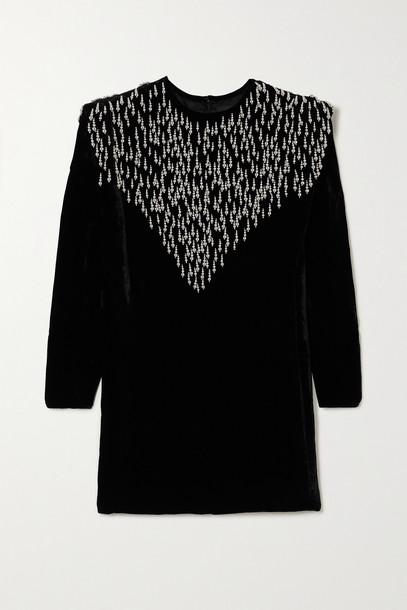 ISABEL MARANT - Gabasi Bead-embellished Velvet Mini Dress - Black