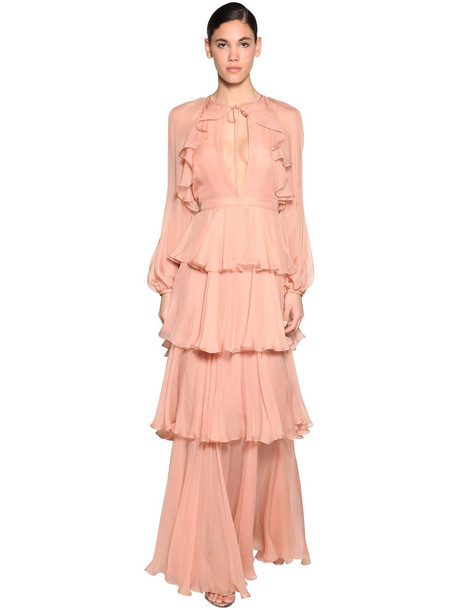 DSQUARED2 Ruffled Silk Chiffon Dress in pink