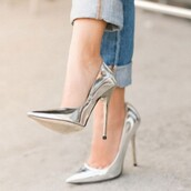shoes,pumps,sliver,pointed toe,stilleto heels,party shoes,sexy,5inch-high heel