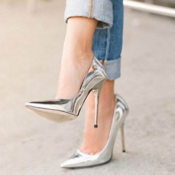 shoes pumps sliver pointed toe stilleto heels party shoes 5inch-high heel