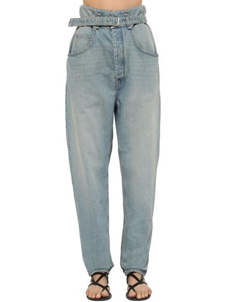 ISABEL MARANT ÉTOILE Gloria High Waist Belted Denim Jeans in blue