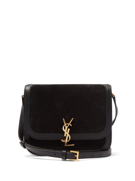 Saint Laurent - Solferino Ysl-plaque Suede Shoulder Bag - Womens - Black