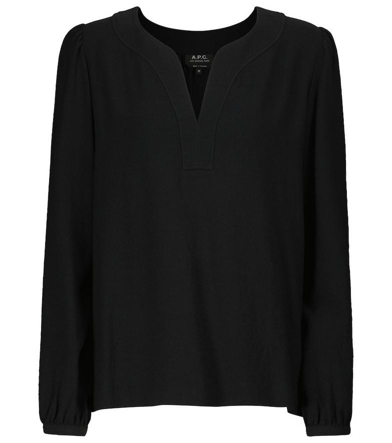 A.P.C. Long-sleeved V-neck T-shirt in black