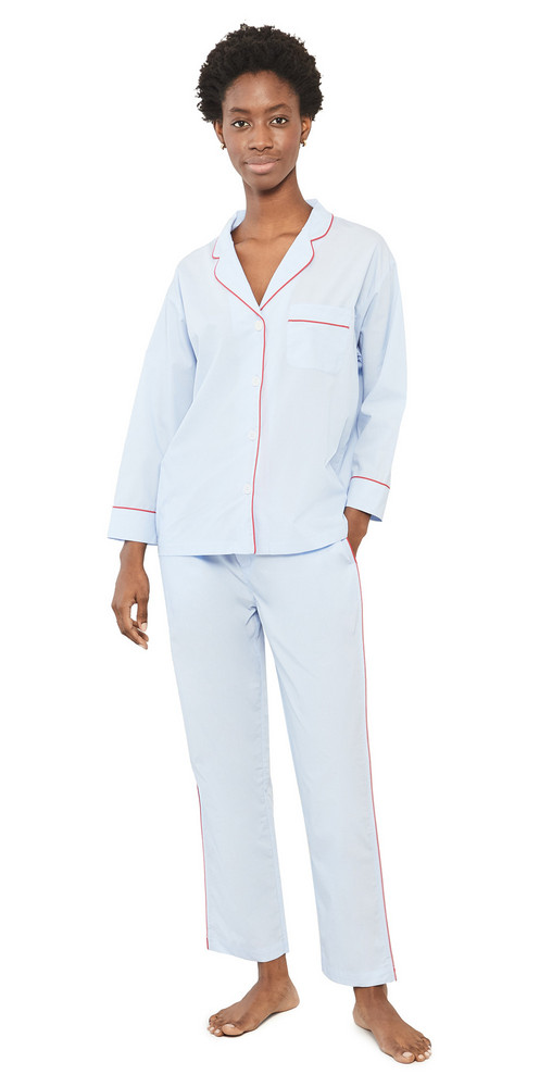 Sleepy Jones Marina Pajama Set in blue