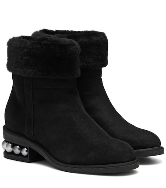 Nicholas Kirkwood Casati 35mm shearling ankle boots in black