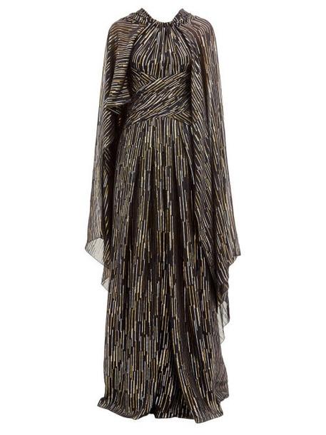 Peter Pilotto - Lamé Fil-coupé Silk-blend Georgette Gown - Womens - Black