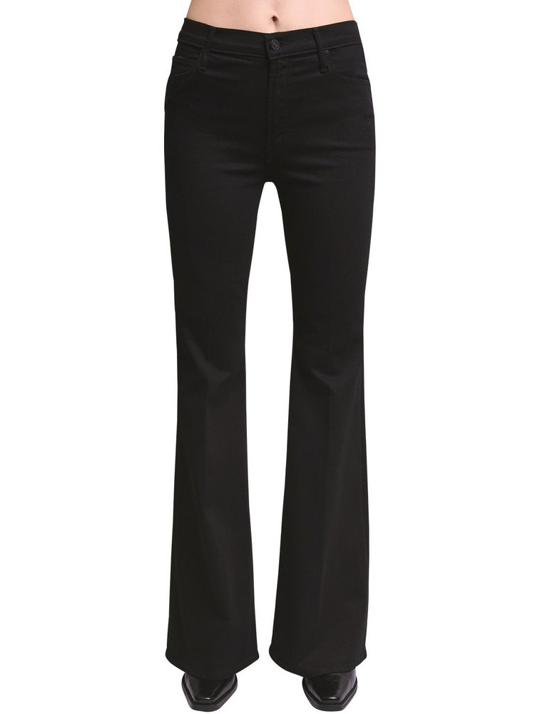 MOTHER Doozy Flared High Rise Cotton Jeans in black