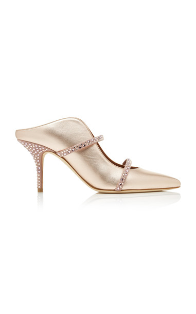 Malone Souliers Maureen Crystal-Embellished Metallic Leather Mules in gold