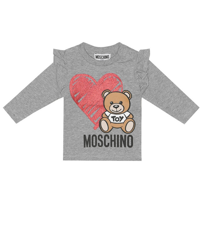 Moschino Kids Printed stretch-cotton top in grey