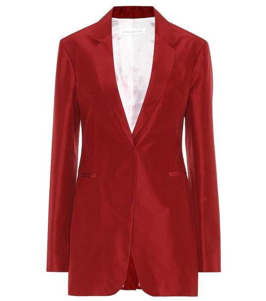 Victoria Beckham Cotton and silk blazer in red