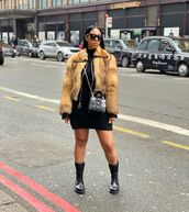 jacket,faux fur jacket,black dress,mini dress,black boots,dior bag