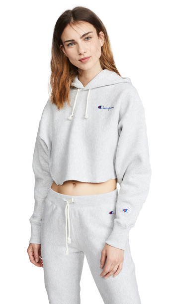 Champion Premium Reverse Weave Cropped Hooded Sweatshirt in grey