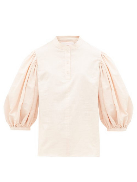See By Chloé See By Chloé - Balloon-sleeve Stripe-jacquard Cotton Blouse - Womens - Light Pink