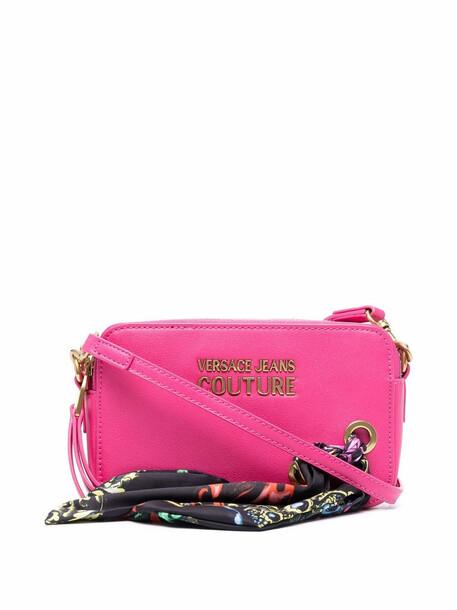 Versace Jeans Couture logo-plaque zip-up shoulder bag - Pink