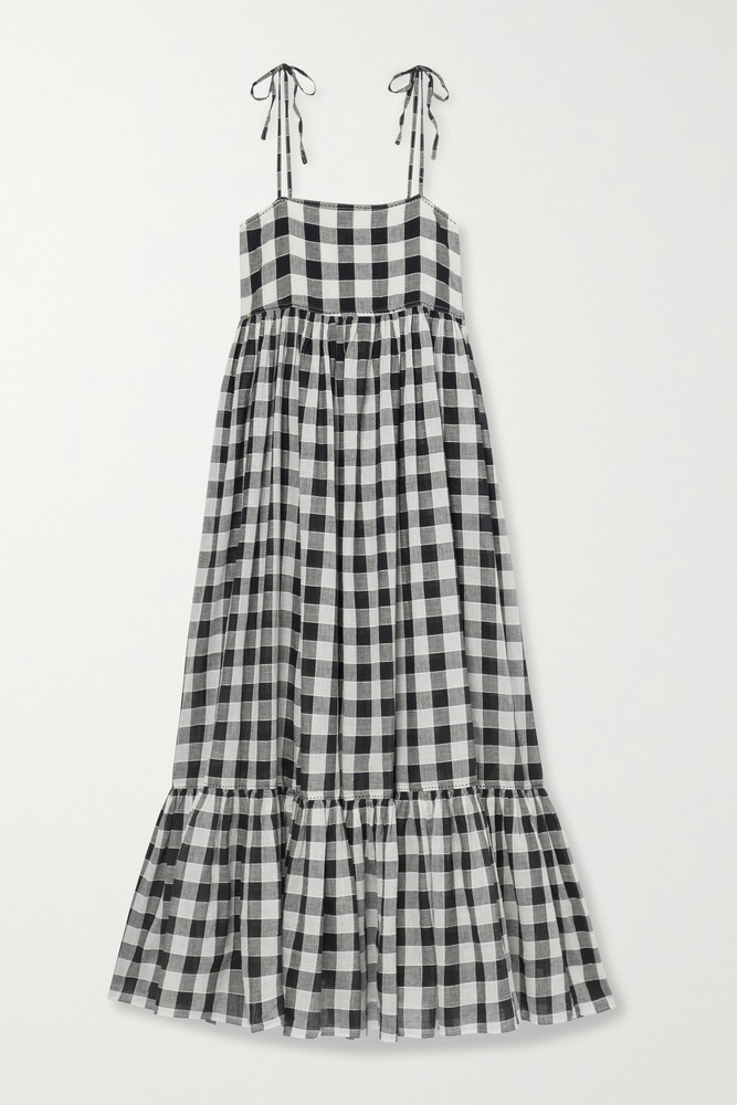 THE GREAT. THE GREAT. - The Dainty Gingham Linen And Cotton-blend Midi Dress - Black