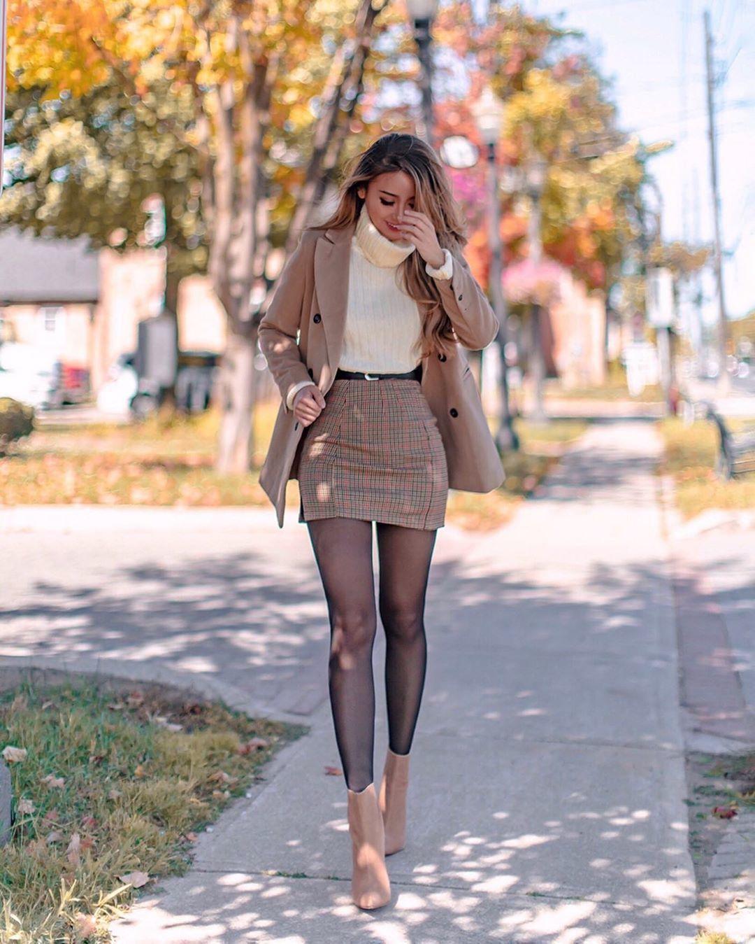 skirt plaid skirt tights ankle boots blazer turtleneck sweater