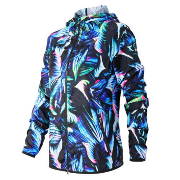 New Balance 61114 Women's Night Floral Windcheater Hybrid Jacket - Blue/Black (WJ61114LFP)