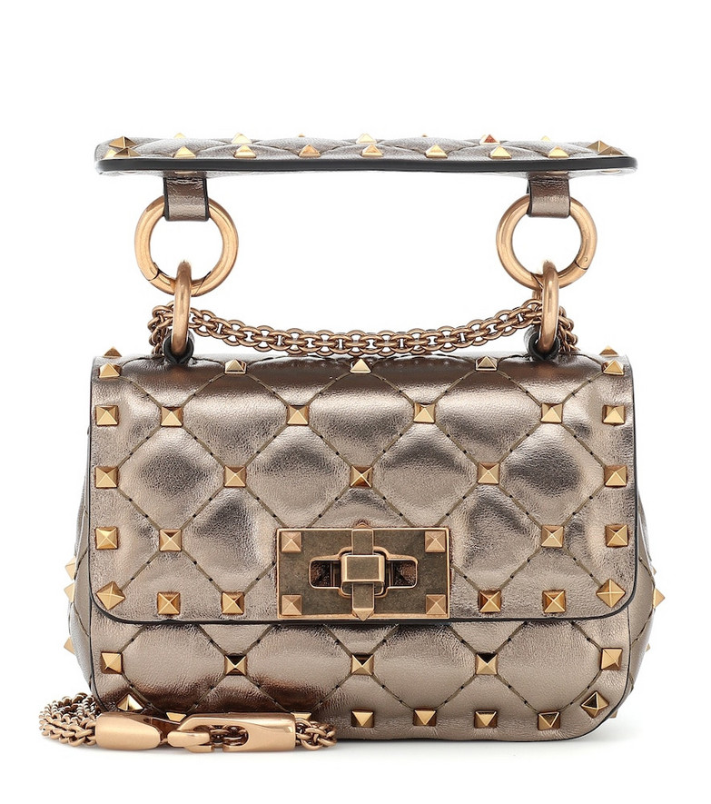 Valentino Garavani Rockstud Spike Micro leather crossbody bag in metallic