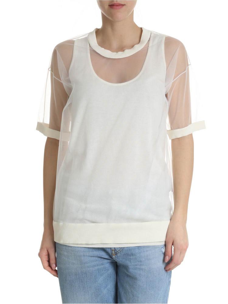 Parosh Oversized Tulle T-shirt in white