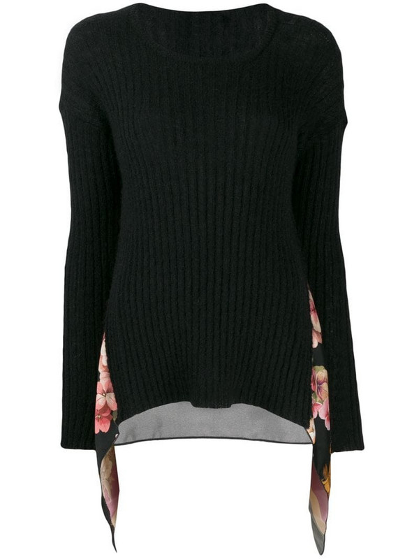 Twin-Set printed insert jumper in black