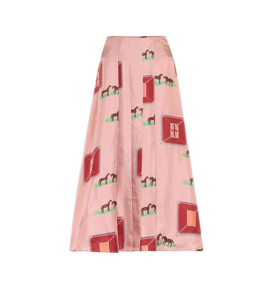 Victoria Beckham Printed silk midi skirt in pink