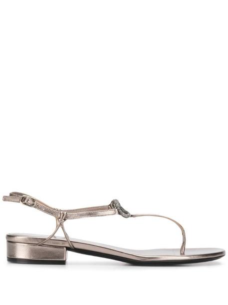 Valentino Garavani VLOGO T-bar sandals in grey