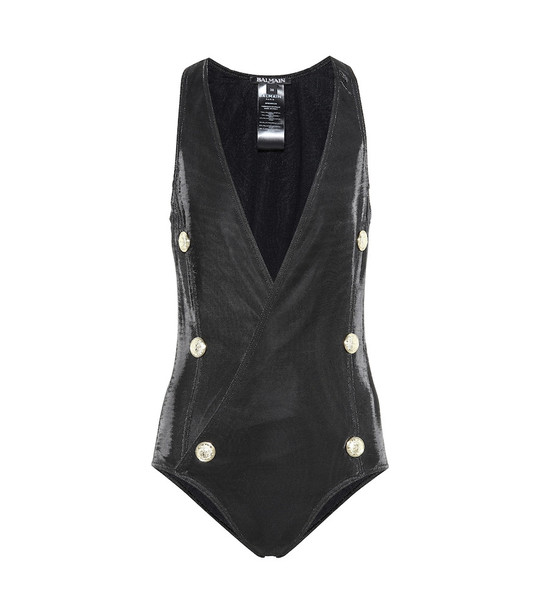 Balmain Buttoned swimsuit in black