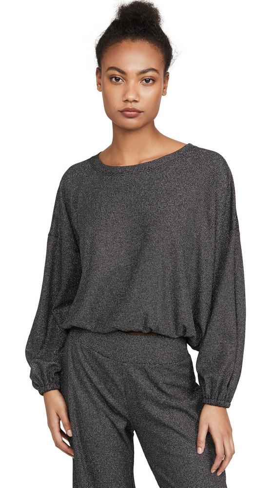 Terez Shimmer Knit Waffle Sweatshirt in metallic / silver