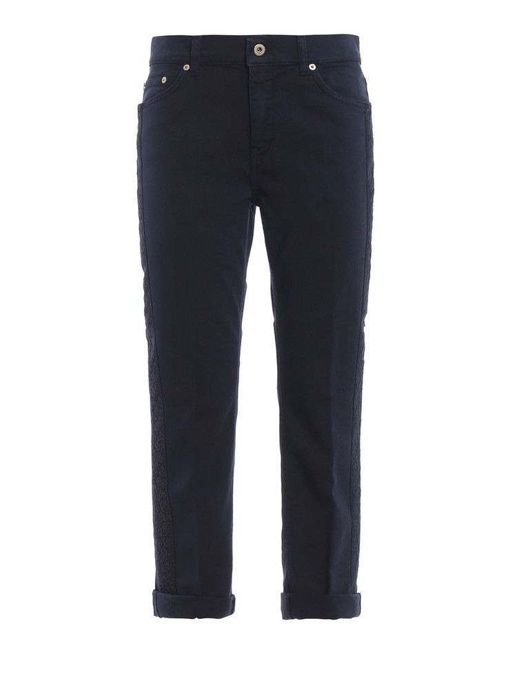 Dondup Paige Lace Embellished Loose Fit Trousers in blue