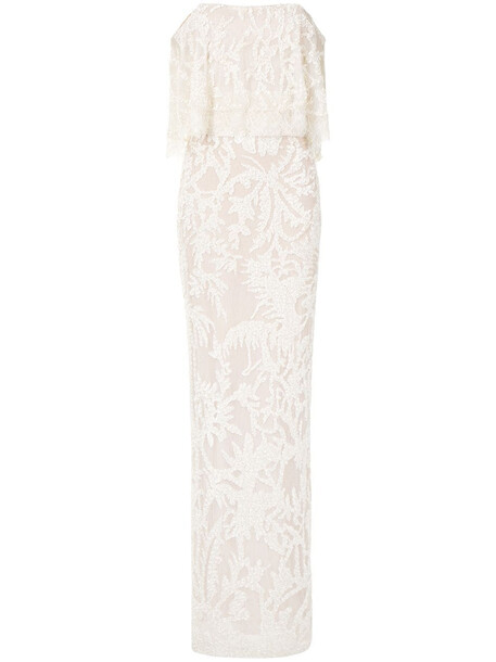 Elie Saab off-shoulder embellished column gown - White