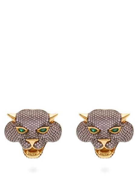 Begum Khan - Crazy Cat 24kt Gold-plated Clip Earrings - Womens - Pink Multi
