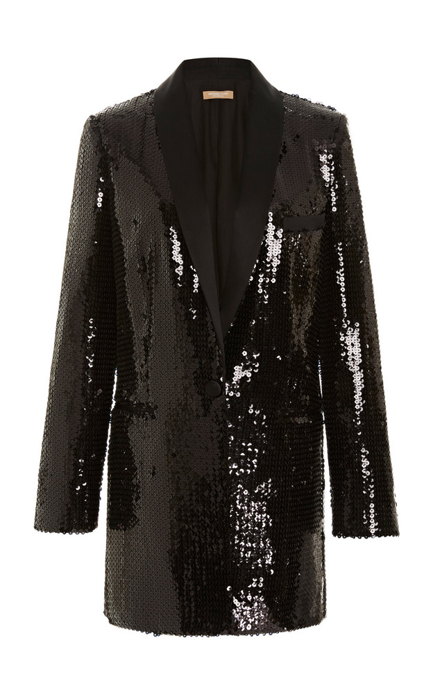 Michael Kors Collection Sequin Boyfriend Blazer in black