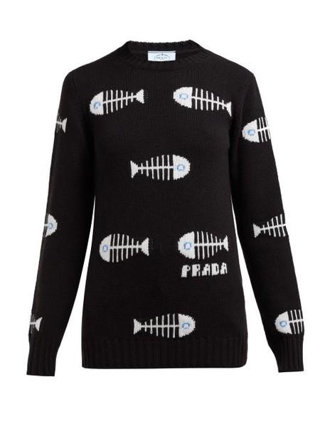 Prada - Fish Jacquard Wool Blend Sweater - Womens - Black Multi