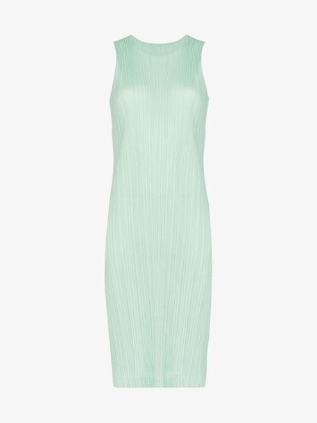Pleats Please Issey Miyake plissé pleated midi dress in green