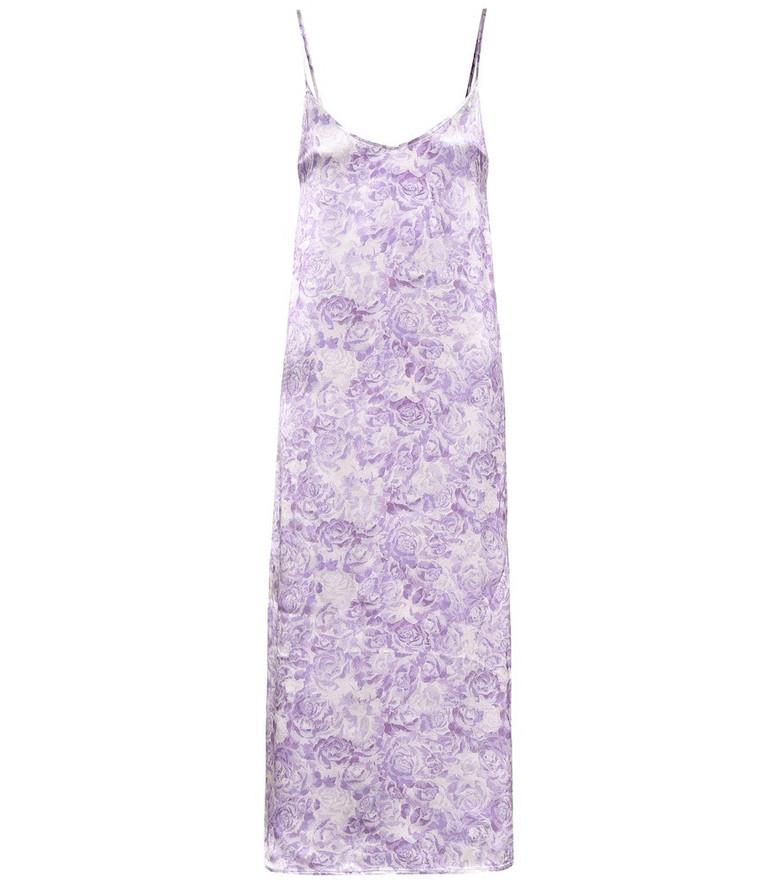Ganni Floral satin slip dress in purple