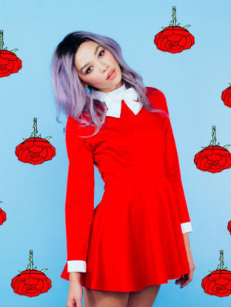dress cute red dress collar collared dress lolita