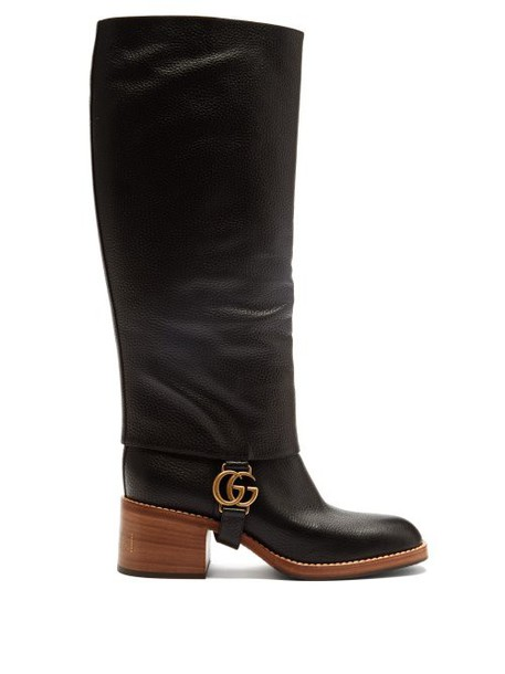 Gucci - Lola Gg Plaque Gaiter Leather Boots - Womens - Black