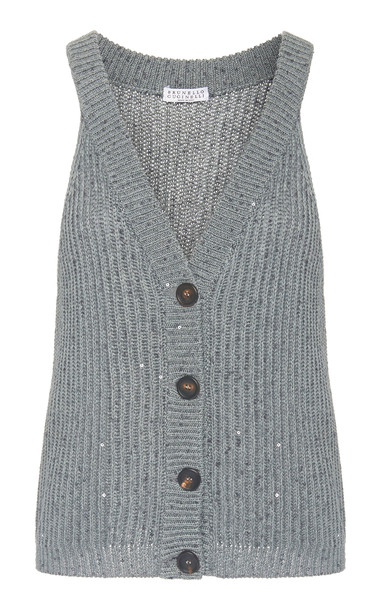 Brunello Cucinelli Sequined Ribbed-Knit Top Size: S in blue