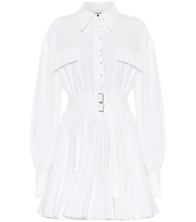 David Koma Cotton-poplin mini shirt dress in white