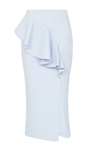 Rachel Gilbert Arden Twill Pencil Skirt Size: 1 in blue