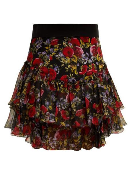 Dolce & Gabbana - Floral Print Tiered Silk Blend Skirt - Womens - Black Multi