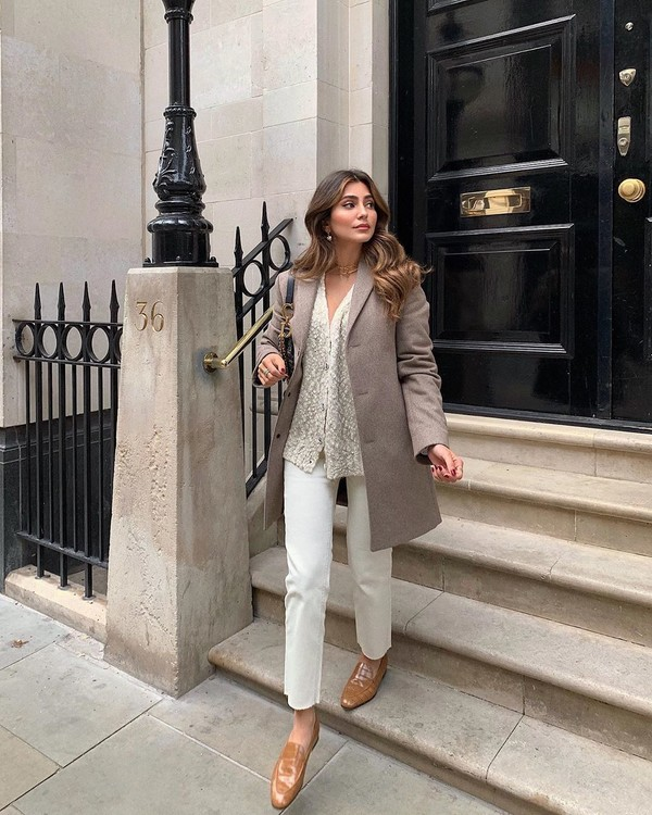 coat grey coat white pants loafers cardigan dior bag