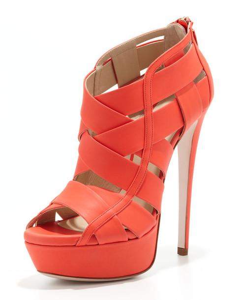 shoes halle caged platform bootie lipstick ruthie davis platform bootie high heels