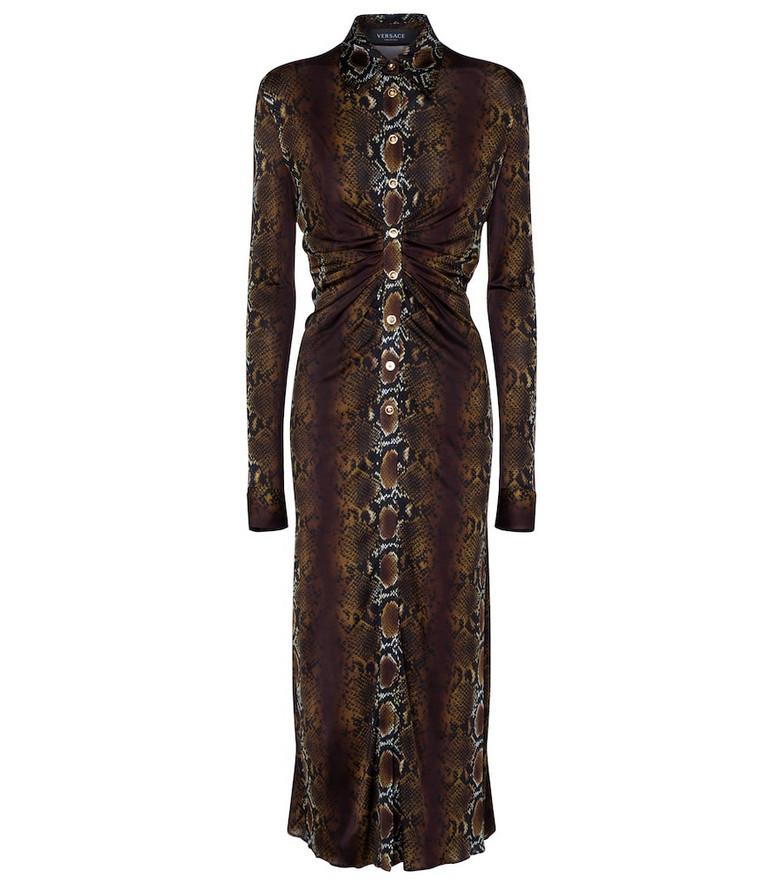 Versace Snake-print maxi dress in brown