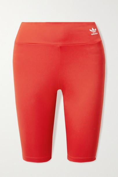adidas Originals - Striped Stretch-jersey Shorts - Red
