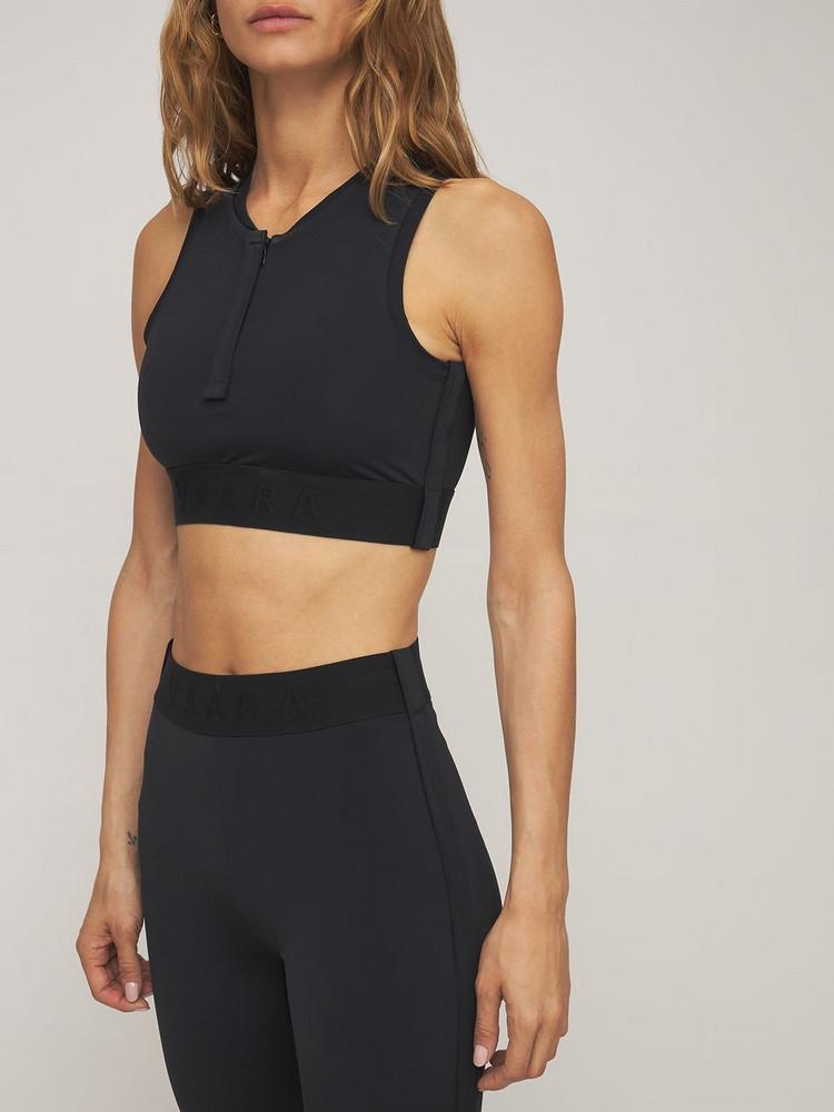 VAARA Zipped Front Sports Bra in black
