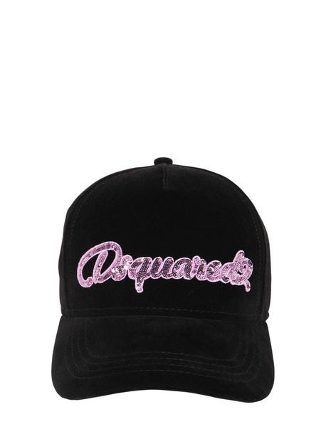DSQUARED2 Embellished Cotton Velvet Baseball Hat in black / pink
